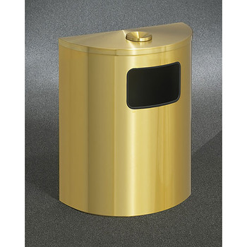 Glaro Profile Half Round Funnel Top Ash and Trash Receptacle, 2494-BE, finished in Satin Brass