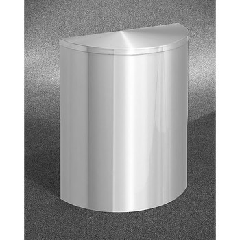 Glaro Profile Half Round Covered Receptacle, 2495-SA, finished in Satin Aluminum