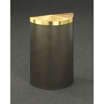 Glaro Profile Half Round Covered Receptacle, 1895V, finished in Bronze Vein with a Satin Brass top
