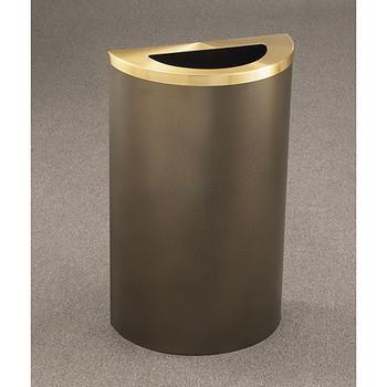 Glaro Profile Half Round Trash Receptacle, 1891, finished in Bronze Vein with a Bronze Vein top