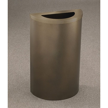 Glaro Profile Half Round Trash Receptacle, 1891, finished in Bronze Vein with a Bronze Vein top