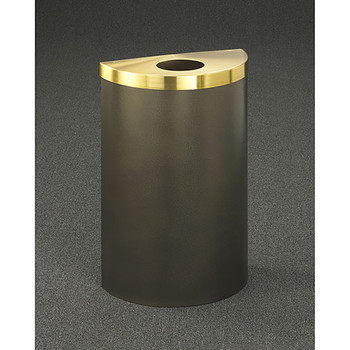 Glaro Profile Half Round Trash Can, 1892V, finished in Bronze Vein with a Satin Brass top
