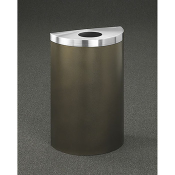 Glaro Profile Half Round Trash Can, 1892V, finished in Bronze Vein with a Satin Aluminum top