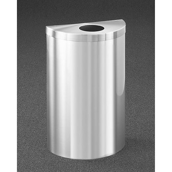 Glaro Profile Half Round Trash Can, 1892V-SA, finished in Satin Aluminum