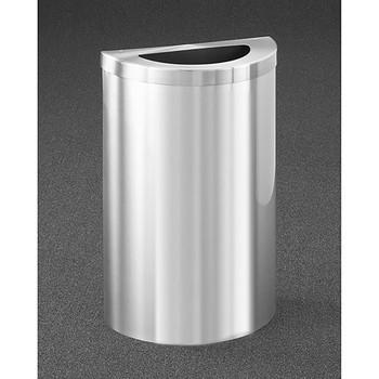 Glaro Profile Half Round Trash Receptacle, 1891V-SA, finished in Satin Aluminum