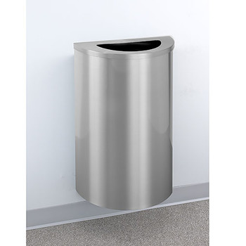 Glaro Profile Half Round Trash Receptacle, 1891-SA, finished in Satin Aluminum,  Mounted on Wall Option