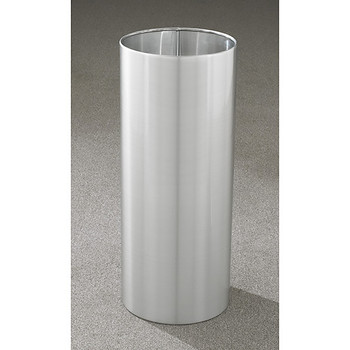 Glaro Open Top Waste Basket - 12 x 29 - 14 Gallon - 1229 - finished in Satin Aluminum