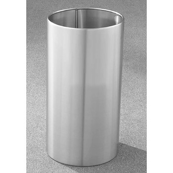 Glaro Open Top Waste Basket - 15 x 29 - 22 Gallon - 1529 - finished in Satin Aluminum