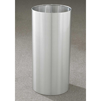Glaro Open Top Waste Basket - 12 x 23 - 11 Gallon - 1223SA - finished in Satin Aluminum