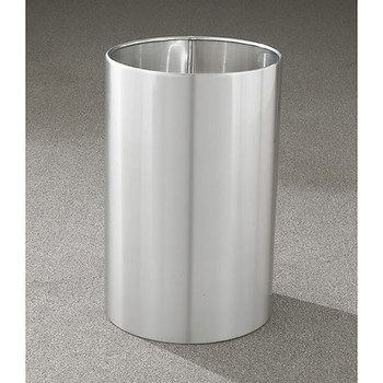 Glaro Open Top Waste Basket - 15 x 23 - 18 Gallon - 1523SA -  finished in Satin Aluminum