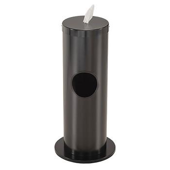 Glaro Antibacterial Wipe Dispenser F1029-BK - Floor Standing with Trash Can - Satin Black