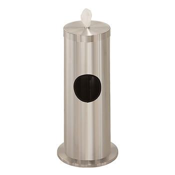 Glaro Antibacterial Wipe Dispenser F1029-SA - Floor Standing with Trash Can - Satin Aluminum