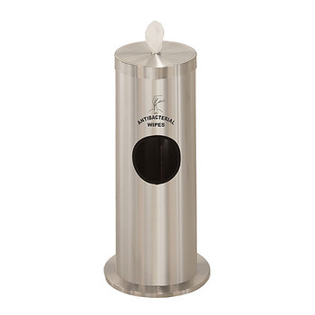 Glaro Antibacterial Wipe Dispenser F1029SSA - Floor Standing with Trash Can and Silk Screened Sign Sign - Satin Aluminum