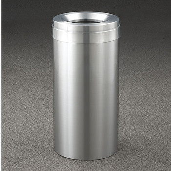 Glaro New Yorker Value WasteMaster Funnel Top Trash Can - 12 x 30 - 15 Gallon - F1237SA - finished in Satin Aluminum