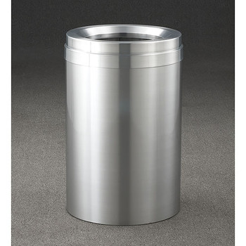Glaro New Yorker Value WasteMaster Funnel Top Trash Can - 15 x 30 - 23 Gallon - F1537SA - finished in Satin Aluminum