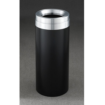 Glaro Mount Everest Value WasteMaster Funnel Top Trash Can - 12 x 30 - 15 Gallon - F1237 - finished in Satin Black with a Satin Aluminum top