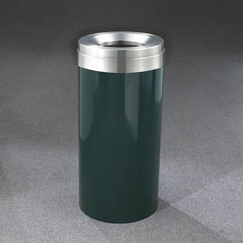 Glaro Mount Everest Value WasteMaster Funnel Top Trash Can - 12 x 30 - 15 Gallon - F1237 - finished in Hunter Green with a Satin Aluminum top