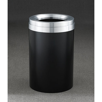 Glaro Mount Everest Value WasteMaster Funnel Top Trash Can - 20 x 31 - 41 Gallon - F2037 - finished in Satin Black with a Satin Aluminum top