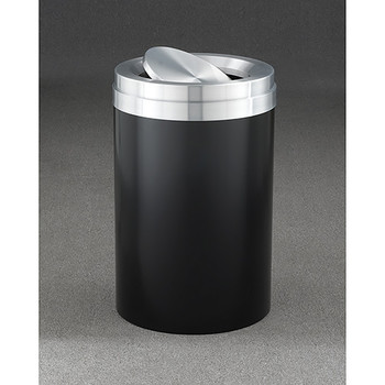 Glaro Mount Everest Value WasteMaster Tip Action Top Trash Can - 20 x 31 - 41 Gallon - TA2037 - finished in Satin Black with a Satin Aluminum top Please note:  This is not a photo of this unit, it is only a representation of design and color.
