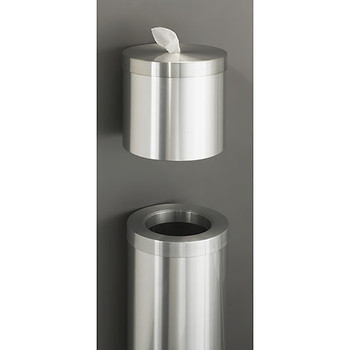 Glaro Wall Mounted Antibacterial Wipe Dispenser - W1015SA - Paired with the WasteMaster Funnel Top Trash Can - F1024SA - finished in Satin Aluminum