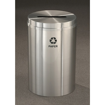 Glaro RecyclePro 1 Paper Recycling Bin - 20 x 31 - 33 Gallon - P2032SA - finished in Satin Aluminum, labeled for Paper Recycling