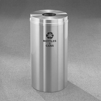 Glaro RecyclePro 1 Bottle Recycling Bin - 15 x 31 - 16 Gallon - B1532SA - finished in Satin Aluminum, Recycling Bottles and Cans Label