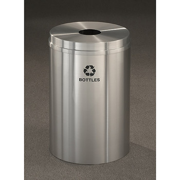 Glaro RecyclePro 1 Bottle Recycling Bin - 20 x 31 - 33 Gallon - B2032SA - finished in Satin Aluminum,  Recycling Bottles Label