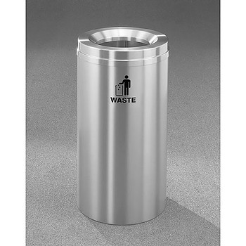 Glaro RecyclePro 1 Waste Bin - 12 x 31 - 12 Gallon - W1232SA - finished in Satin Aluminum, Waste Labeled