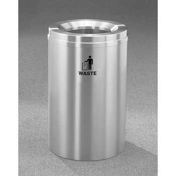 Glaro RecyclePro 1 Waste Bin - 20 x 31 - 33 Gallon - W2032SA - finished in Satin Aluminum, Waste Labeled