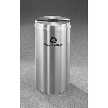 Glaro RecyclePro 1 Single Stream Recycling Bin - 12 x 31 - 12 Gallon - M1232SA - finished in Satin Aluminum, Recyclables Labeled