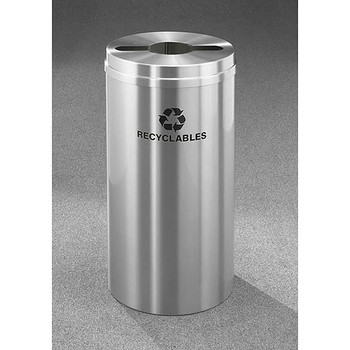 Glaro RecyclePro 1 Single Stream Recycling Bin - 15 x 31 - 16 Gallon - M1532SA - finished in Satin Alumimum, Labeled Recyclables