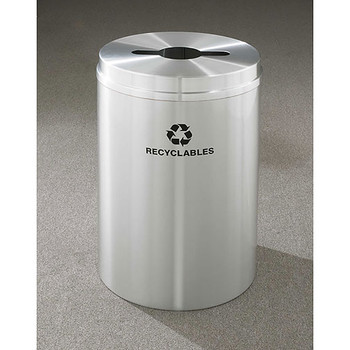 Glaro RecyclePro 1 Single Stream Recycling Bin - 20 x 31 - 33 Gallon - M2032SA - finished in Satin Aluminum, Labeled Recyclables