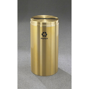 Glaro RecyclePro 1 Paper Recycling Bin - 12 x 31 - 12 Gallon - P1232BE - finished in Satin Brass, Recycling Paper Label