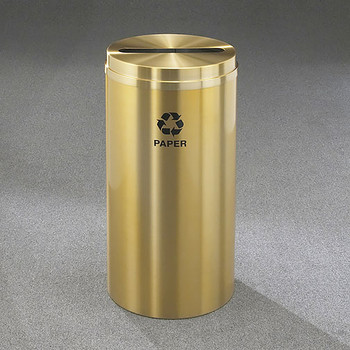 Glaro RecyclePro 1 Paper Recycling Bin - 15 x 31 - 16 Gallon - P1532BE - finished in Satin Brass with Recycling Paper Label