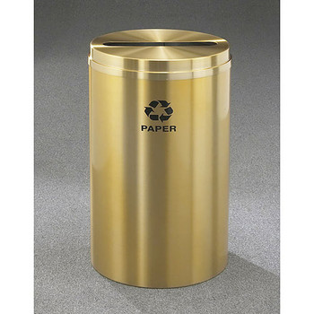 Glaro RecyclePro 1 Paper Recycling Bin - 20 x 31 - 33 Gallon - P2032BE - finished in Satin Brass with Recycling Paper Label