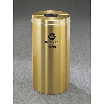 Glaro RecyclePro 1 Bottle Recycling Bin - 12 x 31 - 12 Gallon - B1232BE - finished in Satin Brass with Recycling Bottles and Cans Label