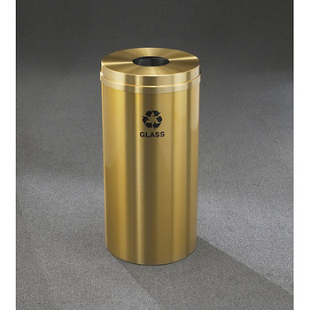 Glaro RecyclePro 1 Bottle Recycling Bin - 15 x 31 - 16 Gallon - B1532BE - finished in Satin Brass, Recycling Glass Label
