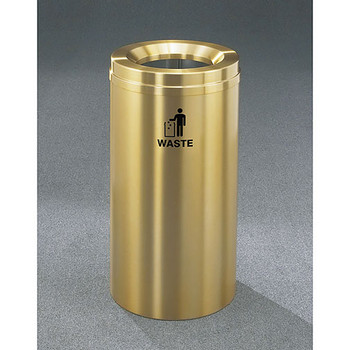 Glaro RecyclePro 1 Waste Bin - 12 x 31 - 12 Gallon - W1232BE - finished in Satin Brass, Waste Label
