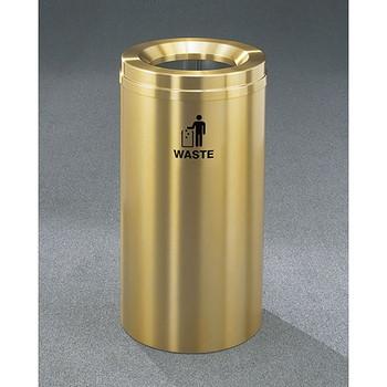 Glaro RecyclePro 1 Waste Bin - 15 x 31 - 16 Gallon - W1532BE - finished in Satin Brass, Waste Label