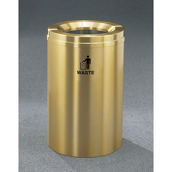 Glaro RecyclePro 1 Waste Bin - 20 x 31 - 33 Gallon - W2032BE - finished in Satin Brass, Waste Label