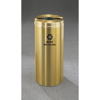 Glaro RecyclePro 1 Single Stream Recycling Bin - 12 x 31 - 12 Gallon - M1232BE - finished in Satin Brass, Labeled for Mixed Recycling