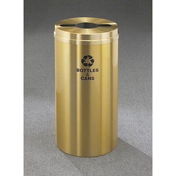 Glaro RecyclePro 1 Single Stream Recycling Bin - 12 x 31 - 12 Gallon - M1232BE - finished in Satin Brass, Recycling Bottles & Cans Label