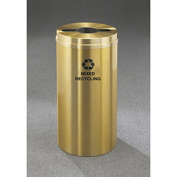 Glaro RecyclePro 1 Single Stream Recycling Bin - 15 x 31 - 16 Gallon - M1532BE - finished in Satin Brass, Mixed Recycling Label