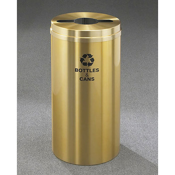 Glaro RecyclePro 1 Single Stream Recycling Bin - 15 x 31 - 16 Gallon - M1532BE - finished in Satin Brass, Recycling Bottles & Cans Label