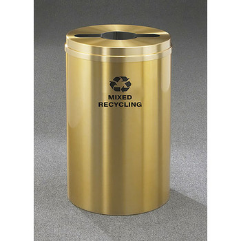 Glaro RecyclePro 1 Single Stream Recycling Bin - 20 x 31 - 33 Gallon - M2032BE - finished in Satin Brass, Mixed Recycling Label