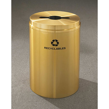 Glaro RecyclePro 1 Single Stream Recycling Bin - 20 x 31 - 33 Gallon - M2032BE - finished in Satin Brass, Recyclables Label