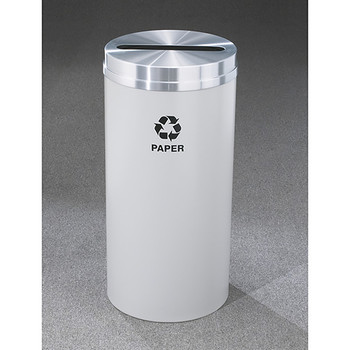 Glaro RecyclePro 1 Paper Recycling Bin - 12 x 31 - 12 Gallon - P1232 - finished in Gray with a Satin Aluminum top, Recycling Paper Label