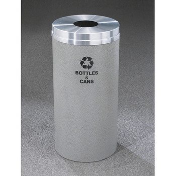 Glaro RecyclePro 1 Bottle Recycling Bin - 12 x 31 - 12 Gallon - B1232 - finished in Granite with a Satin Aluminum cover, Recycling Bottles & Cans Label