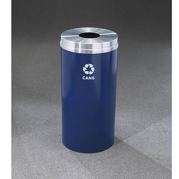 Glaro RecyclePro 1 Bottle Recycling Bin - 15 x 31 - 16 Gallon - B1532 - finished in Midnight Blue with a Satin Aluminum cover, Recycling Cans Label
