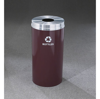 Glaro RecyclePro 1 Bottle Recycling Bin - 15 x 31 - 16 Gallon - B1532 - finished in Burgundy with a Satin Aluminum cover,  Recycling Bottles Label